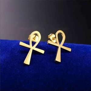 New 18K Gold Ankh Stud Earrings